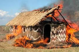 كوخ يحترق