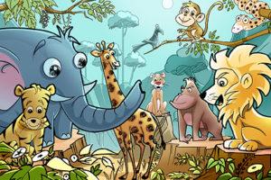 قصة قصيرة عن التعاون بين الحيوانات للأطفال