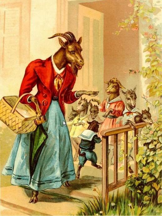 حكاية الماعز الأم وصغارها ومكر الذئب