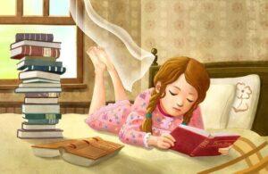 حب طفلة للقراءة.