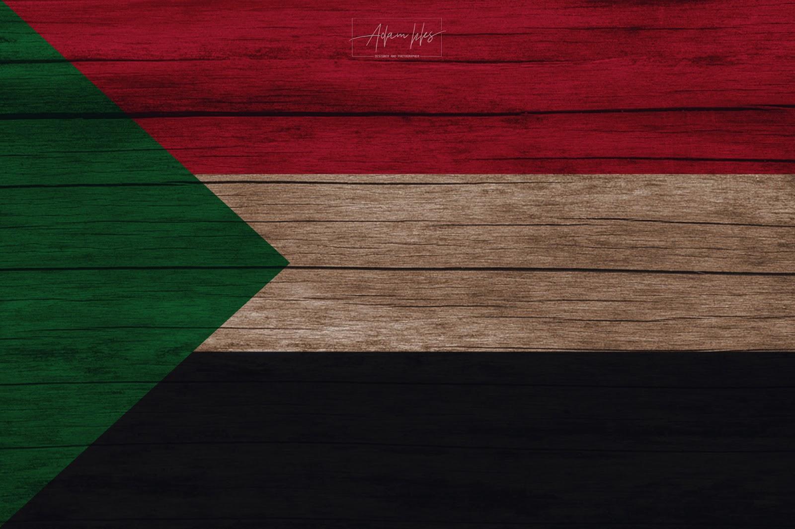 علم السودان مرسوم على لوح خشب.