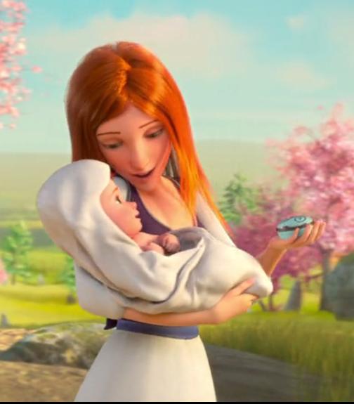 والدة فيليسي تحملها وهي ترقص على أنغام الصندوق الموسيقي.