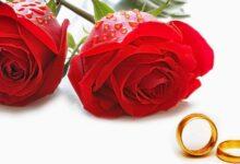 ورود حمراء ودبلتي زفاف.