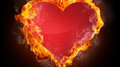 قلب ضارمة به النيران دلالة على نار الحب في الحروب.