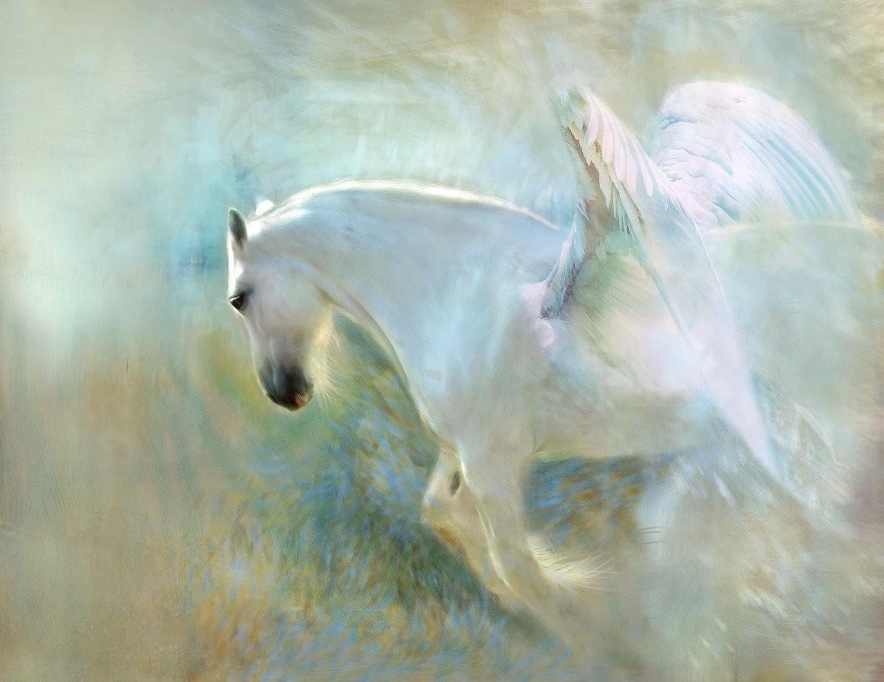حصان أبيض مجنح