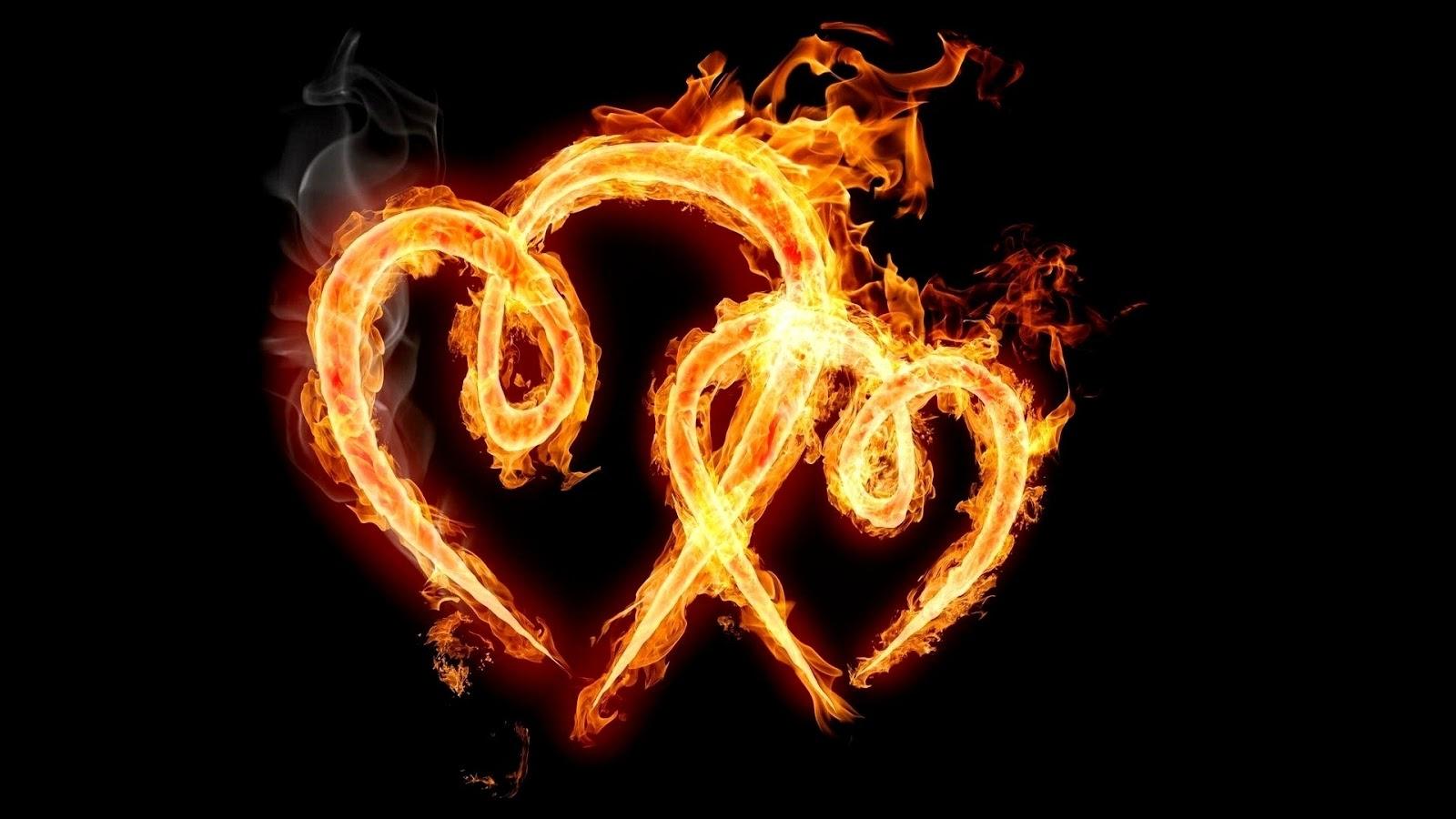قلبين متقدين بلهيب الحب.